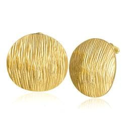 Vienna Jewelry 18K Gold Curved Surface Stud Earrings Made with Swarovksi Elements - Thumbnail 0