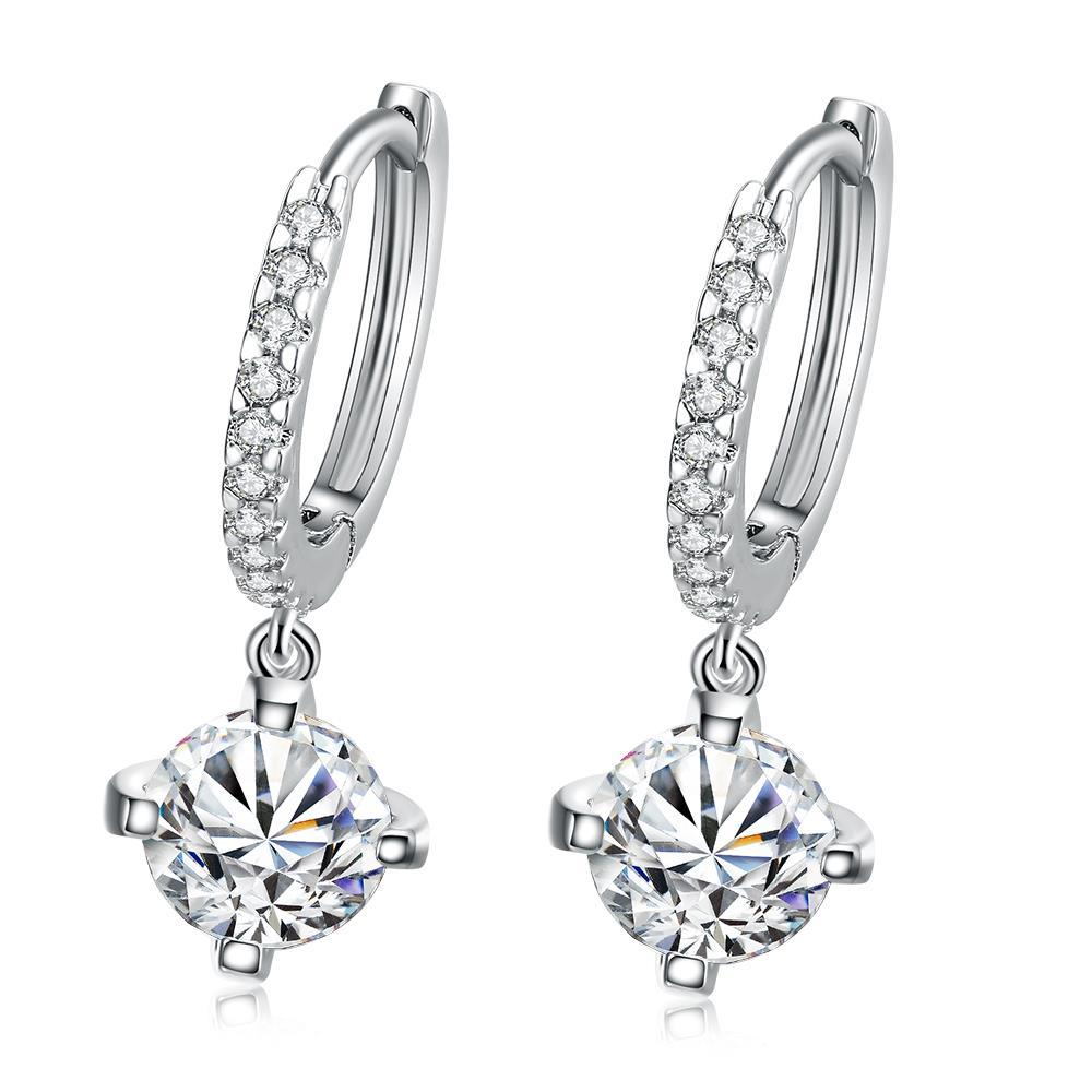 Vienna Jewelry 18K White Gold Plated Classic Drop Earring