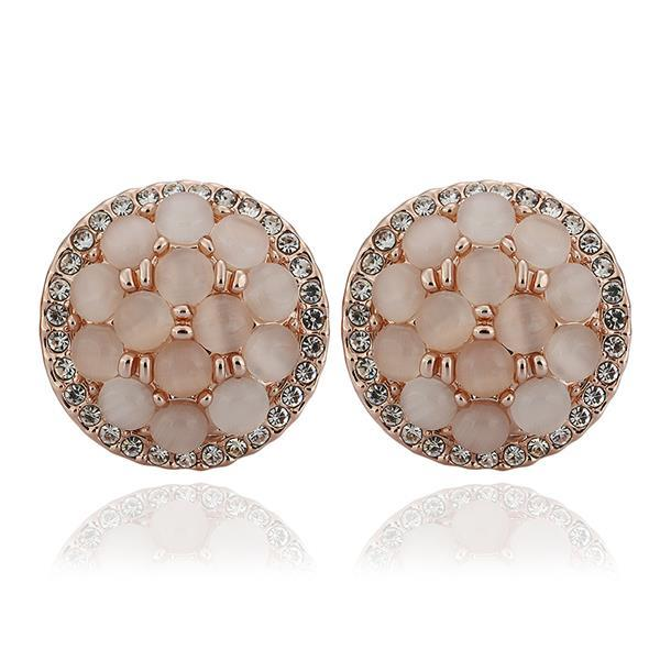 Vienna Jewelry 18K Rose Gold Circular Natural Gemstones Stud Earrings Made with Swarovksi Elements
