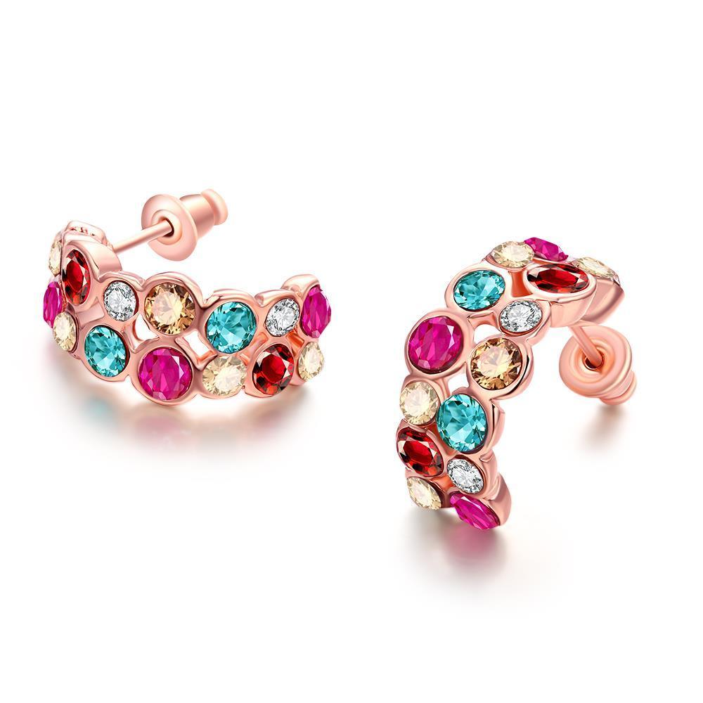 Vienna Jewelry Rainbow Studded 18K Rose Gold Plated