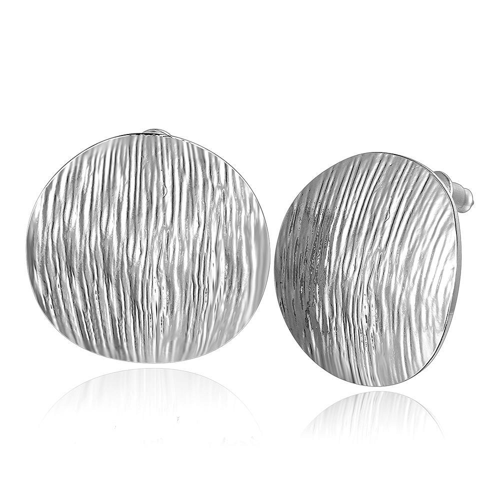 Vienna Jewelry 18K White Gold Curved Surface Stud Earrings Made with Swarovksi Elements