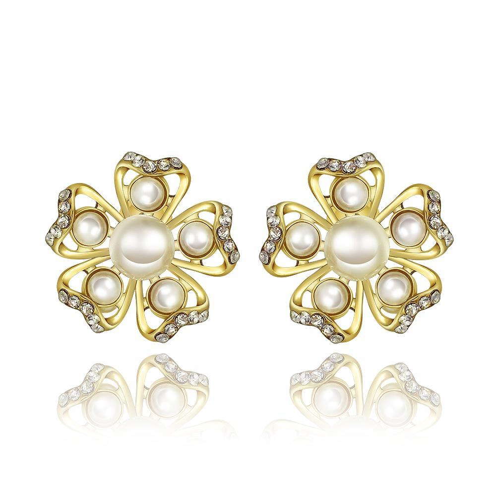 Vienna Jewelry 18K Gold Snowflakes with Pearls Stud Earrings Made with Swarovksi Elements