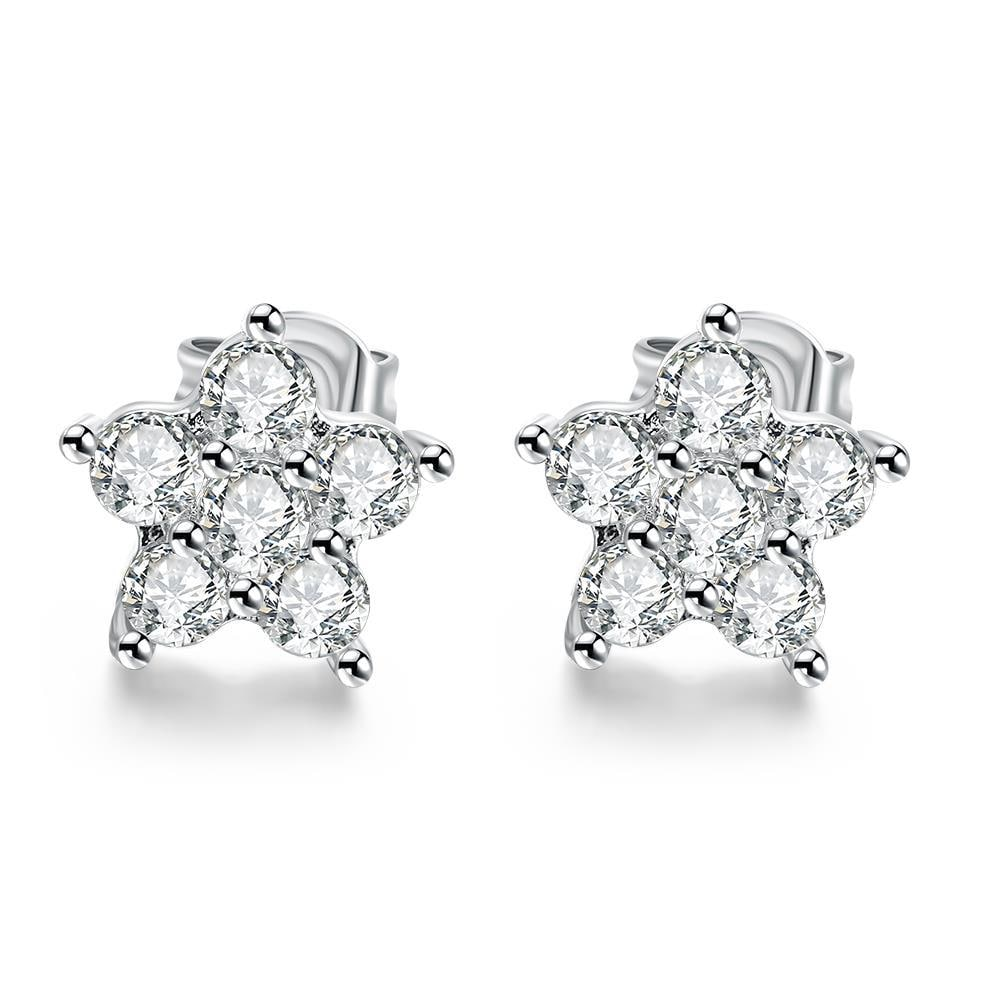 Vienna Jewelry 18K White Gold Plated Flower Studded Earrings