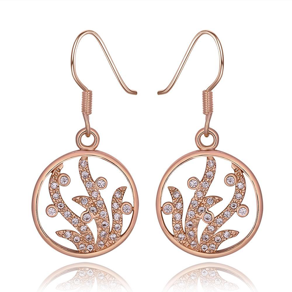 Vienna Jewelry 18K Rose Gold Circular Tree Branch Drop Down Earrings Made with Swarovksi Elements