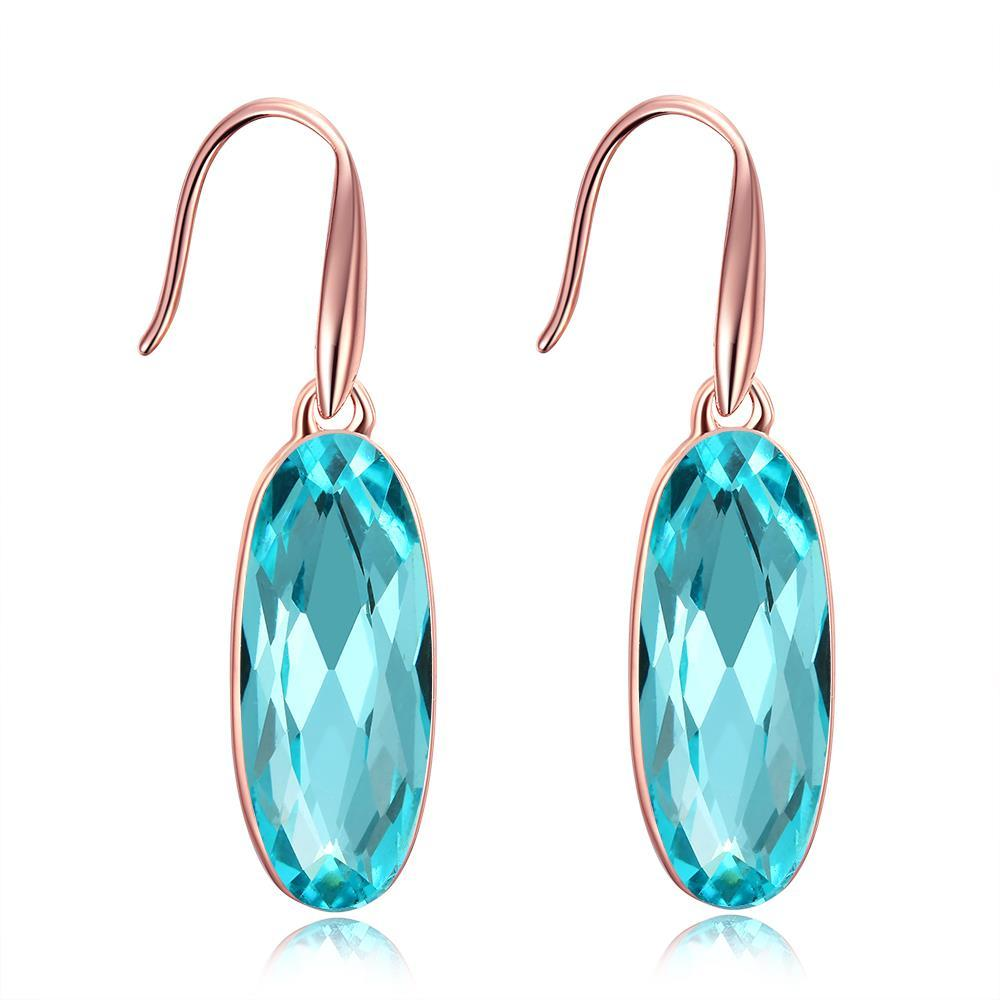 Vienna Jewelry 18K Rose Gold Plated Topaz Drop Earrings