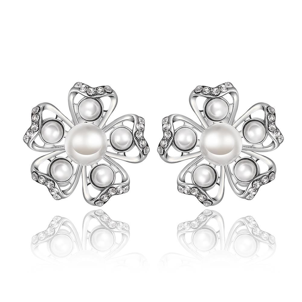 Vienna Jewelry 18K White Gold Snowflakes with Pearls Stud Earrings Made with Swarovksi Elements - Thumbnail 0
