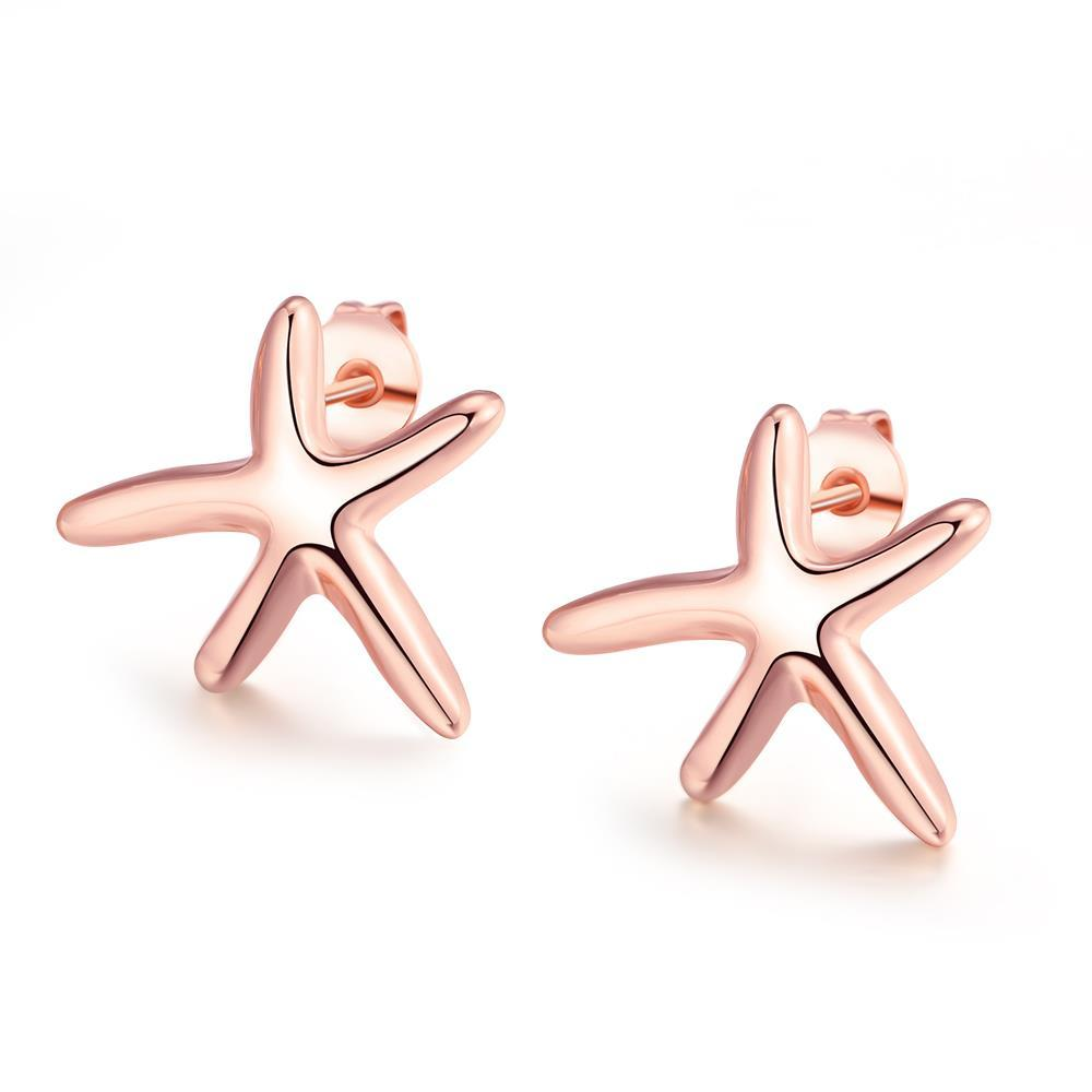 Vienna Jewelry 18K Rose Gold Plated Starfish Studded Earring