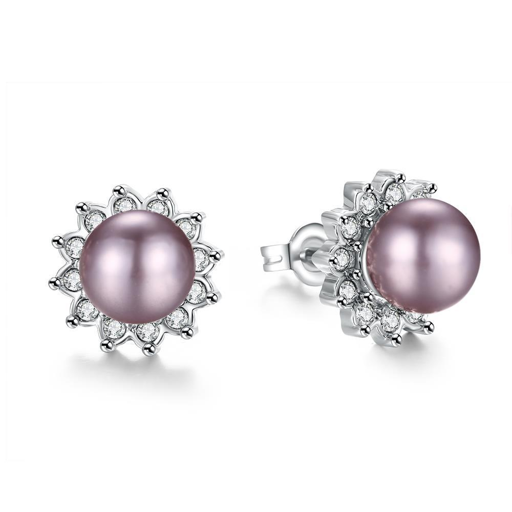 Vienna Jewelry White Gold Plated Purple Pearl Studs