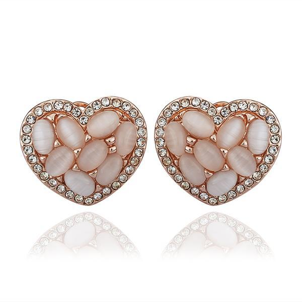 Vienna Jewelry 18K Rose Gold Heart Shaped Natural Gemstones Stud Earrings Made with Swarovksi Elements