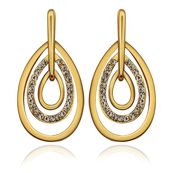 Vienna Jewelry 18K Gold Abstract Artistic Drop Down Earrings Made with Swarovksi Elements