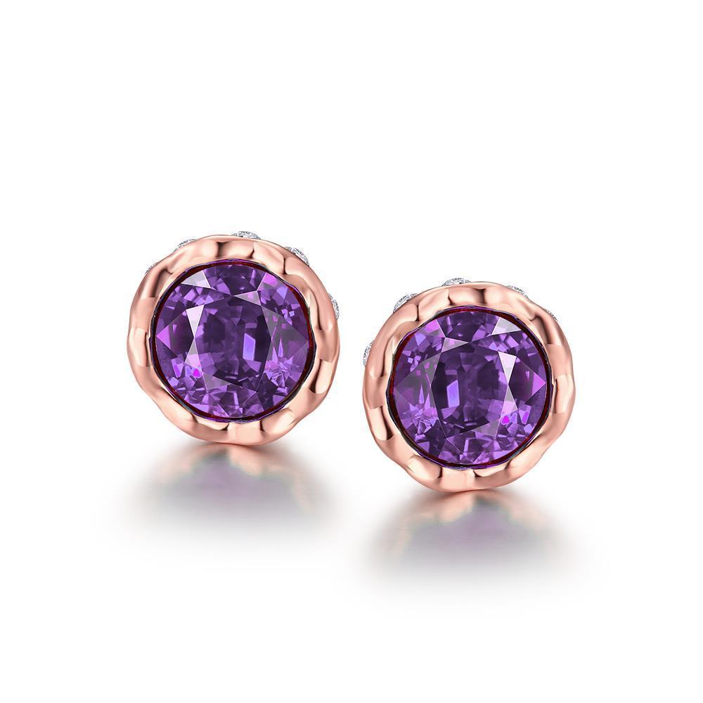 Vienna Jewelry 18K Gold Plated Gemstone Bullet Studs