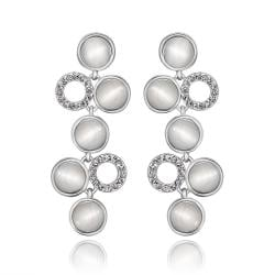 Vienna Jewelry 18K White Gold Petite Dangling Drop Down Earrings Made with Swarovksi Elements - Thumbnail 0
