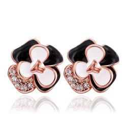 Vienna Jewelry 18K Rose Gold Ivory Covered Floral Petal Stud Earrings Made with Swarovksi Elements - Thumbnail 0