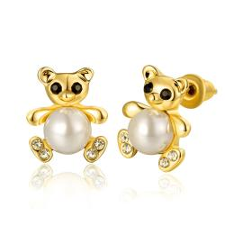 Vienna Jewelry 18K Gold Mini Petite Teddy Bear Stud Earrings Made with Swarovksi Elements - Thumbnail 0