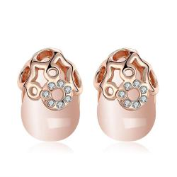 Vienna Jewelry Ceramic Glass Gold Plate Studs - Thumbnail 0