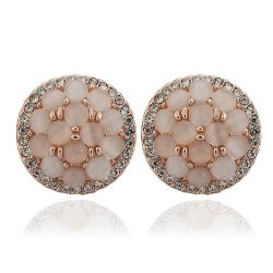 Vienna Jewelry 18K Rose Gold Circular Natural Gemstones Stud Earrings Made with Swarovksi Elements - Thumbnail 0