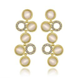 Vienna Jewelry 18K Gold Petite Dangling Drop Down Earrings Made with Swarovksi Elements - Thumbnail 0