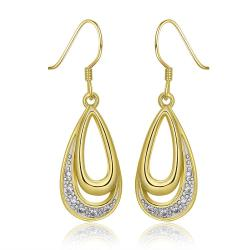 Vienna Jewelry 18K Gold Hollow Oval Shaped Drop Down Earrings Made with Swarovksi Elements - Thumbnail 0