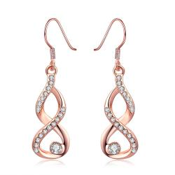 Vienna Jewelry 18K Rose Gold Plated Infinity Drop Earrings - Thumbnail 0