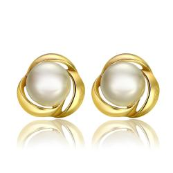 Vienna Jewelry 18K Gold Love Knot Stud Earrings Made with Swarovksi Elements - Thumbnail 0
