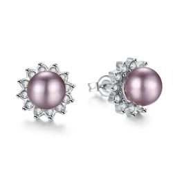Vienna Jewelry White Gold Plated Purple Pearl Studs - Thumbnail 0