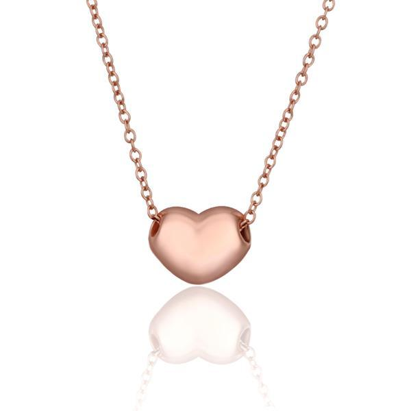 Vienna Jewelry Rose Gold Plated Petite Heart Shaped Necklace