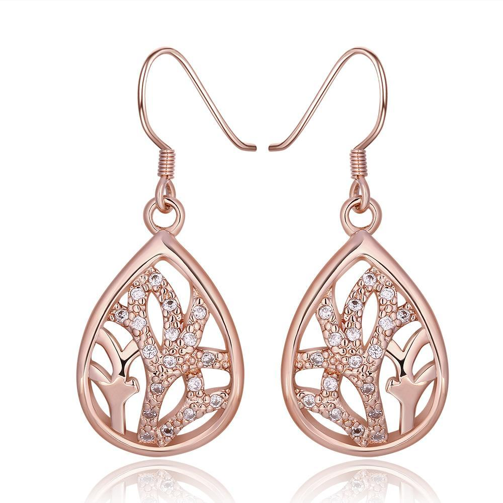 Vienna Jewelry 18K Rose Gold Classic Tree Branch Drop Down Earrings Made with Swarovksi Elements