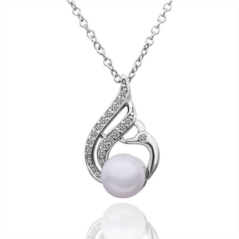 Vienna Jewelry White Gold Plated Curved Blossoming Pearl Necklace