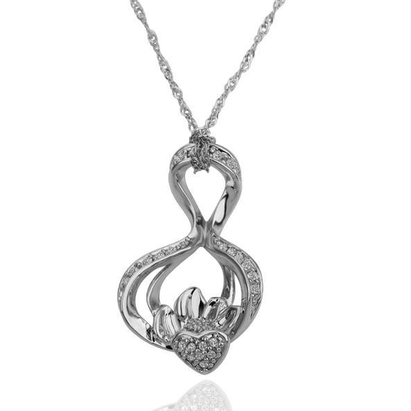 Vienna Jewelry White Gold Plated Large Infinite Loop Necklace