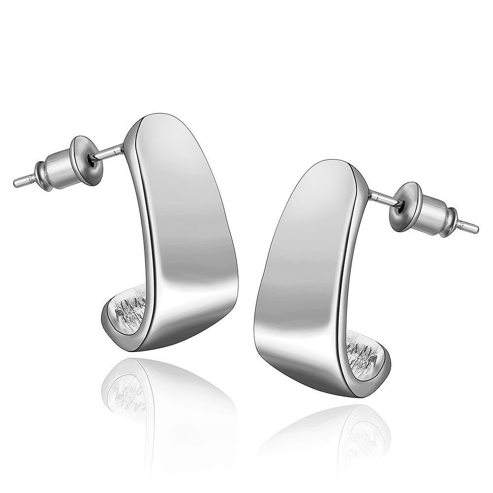 Vienna Jewelry 18K White Gold Abstract Triangle Stud Earrings Made with Swarovksi Elements