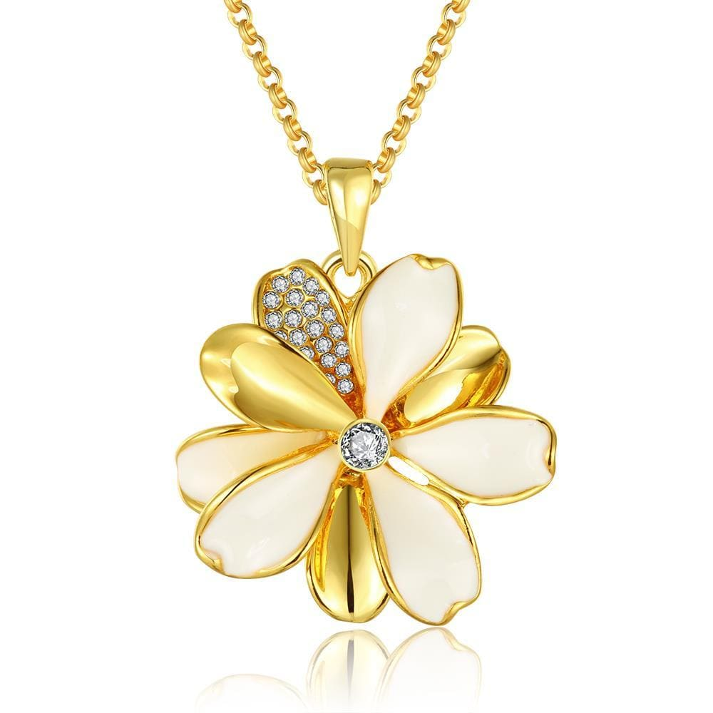 Vienna Jewelry Gold Plated Ivory Clover Petals Necklace