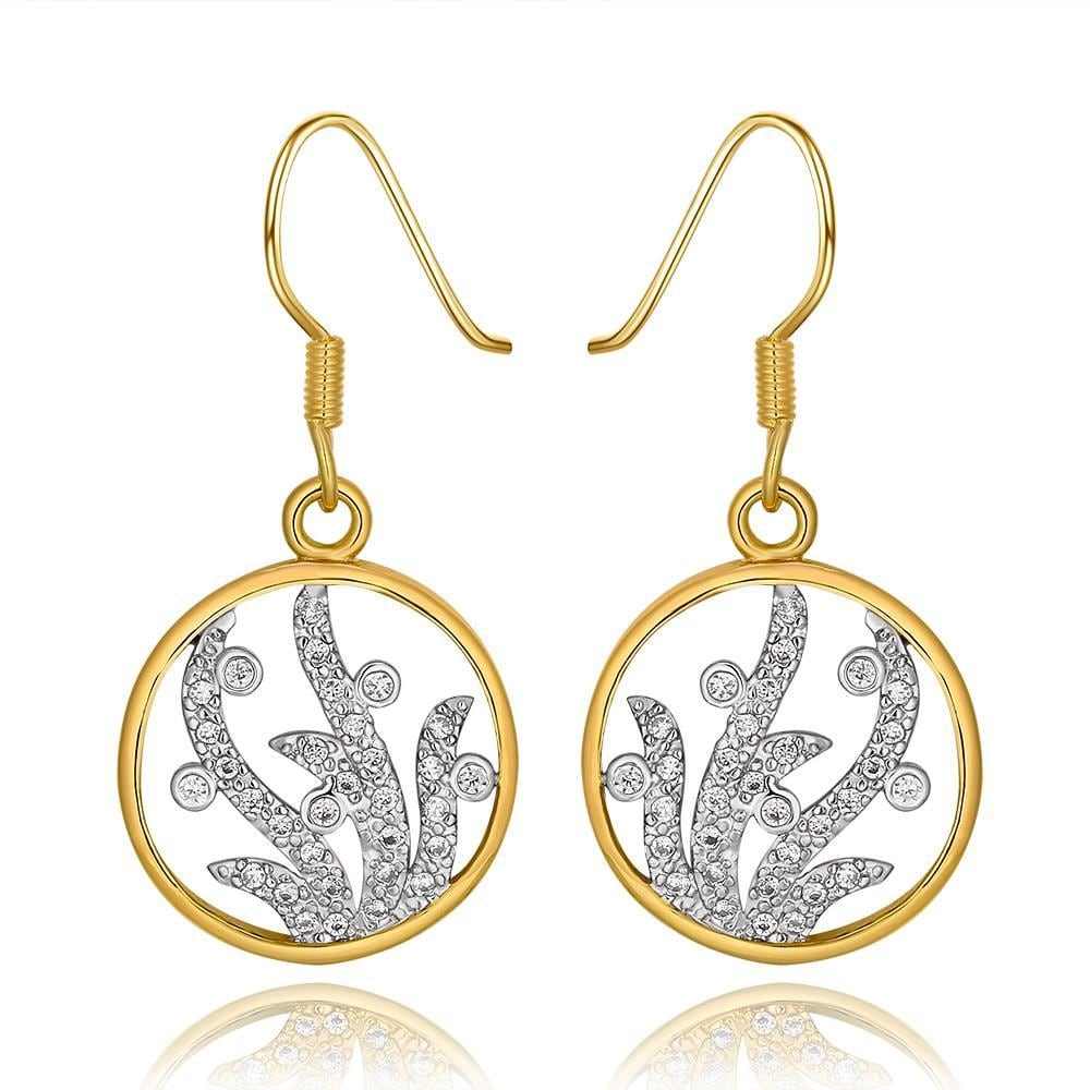 Vienna Jewelry 18K Gold Circular Tree Branch Drop Down Earrings Made with Swarovksi Elements