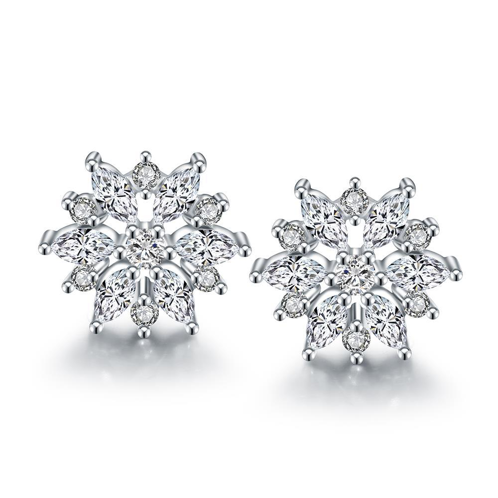 Vienna Jewelry 18K Italian White Gold Diamond Stud Earring