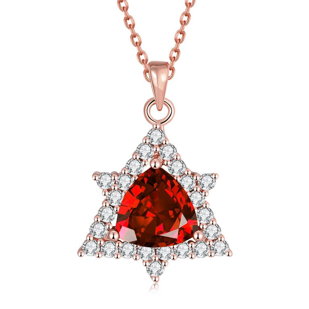 Vienna Jewelry Rose Gold Plated Mini Star Ruby Necklace