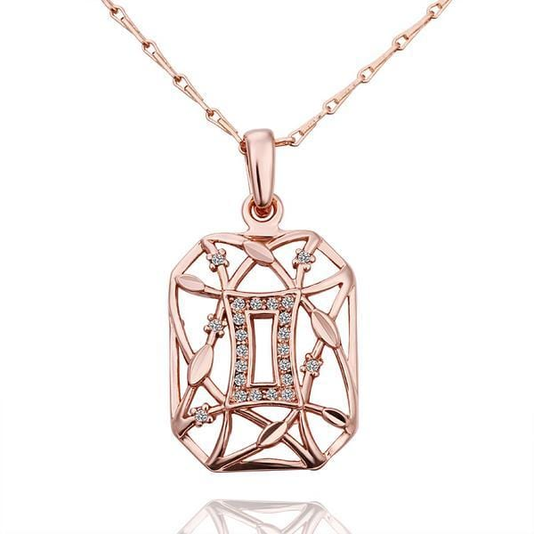 Vienna Jewelry Rose Gold Plated Laser Cut Geo-Shaped Emblem Necklace