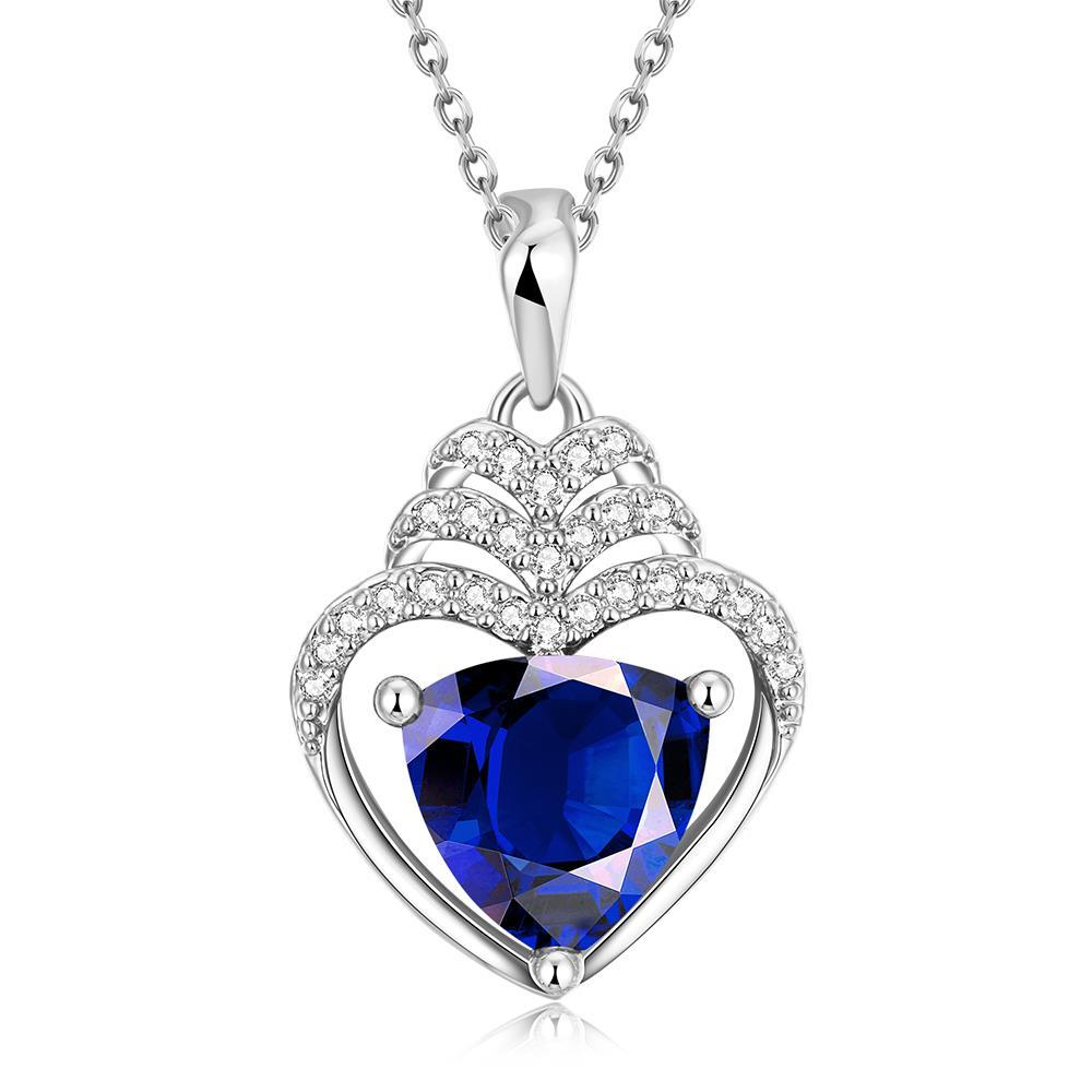 Vienna Jewelry White Gold Plated Hollow Heart with Saphire Gem Necklace