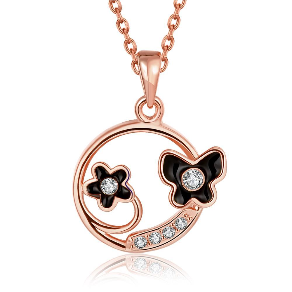 Vienna Jewelry Rose Gold Plated Duo-Floral Circular Necklace