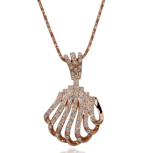 Vienna Jewelry Rose Gold Plated Laser Cut Sea-Shell Necklace