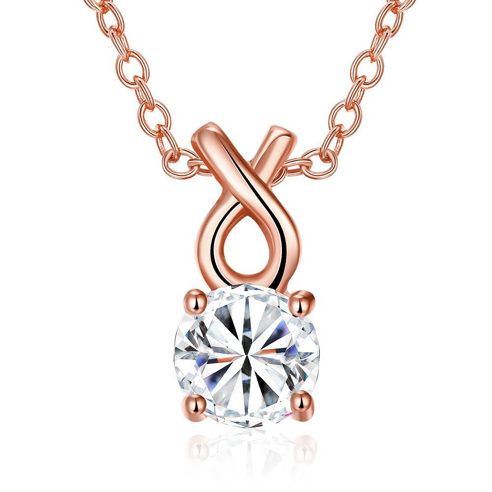 Vienna Jewelry Rose Gold Plated Classic Tiffany's Diamond Necklace