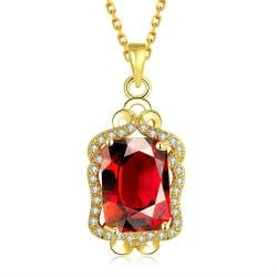 Vienna Jewelry Gold Plated Square Ruby Necklace - Thumbnail 0