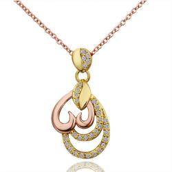 Vienna Jewelry Gold Plated Trio-Dangling Hearts Necklace - Thumbnail 0