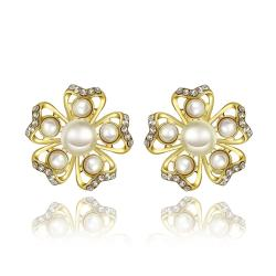 Vienna Jewelry 18K Gold Snowflakes with Pearls Stud Earrings Made with Swarovksi Elements - Thumbnail 0