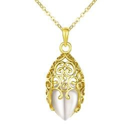Vienna Jewelry Gold Plated Laser Cut Pearl Drop Necklace - Thumbnail 0