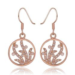 Vienna Jewelry 18K Rose Gold Circular Tree Branch Drop Down Earrings Made with Swarovksi Elements - Thumbnail 0