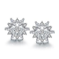 Vienna Jewelry 18K Italian White Gold Diamond Stud Earring - Thumbnail 0