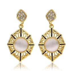 Vienna Jewelry 18K Gold Natural Gemstone Classic Drop Down Earrings Made with Swarovksi Elements - Thumbnail 0