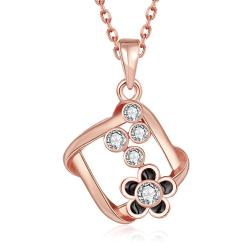 Vienna Jewelry Rose Gold Plated Spiral Square Emblem Pendant Necklace - Thumbnail 0
