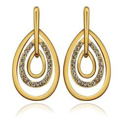 Vienna Jewelry 18K Gold Abstract Artistic Drop Down Earrings Made with Swarovksi Elements - Thumbnail 0