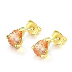 Vienna Jewelry 18K Gold Plated Citrine Pair Studed Earrings - Thumbnail 0
