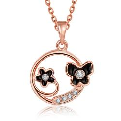 Vienna Jewelry Rose Gold Plated Duo-Floral Circular Necklace - Thumbnail 0